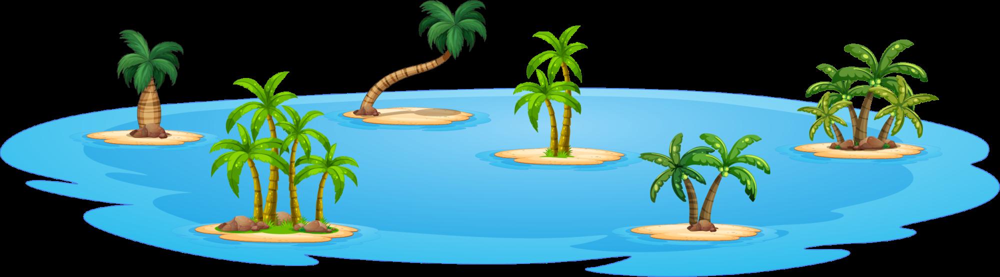 Island cartoon photography illustration. Ocean clipart blue ocean