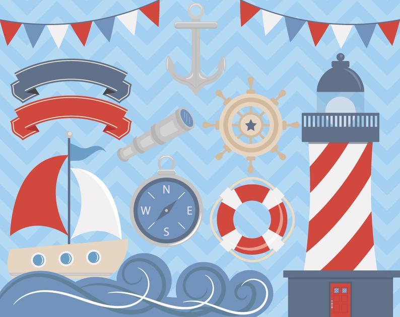 Ocean clipart nautical. Sea boat sailor anchor