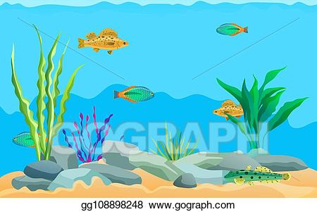 Vector illustration multicolored sea. Ocean clipart ocean environment