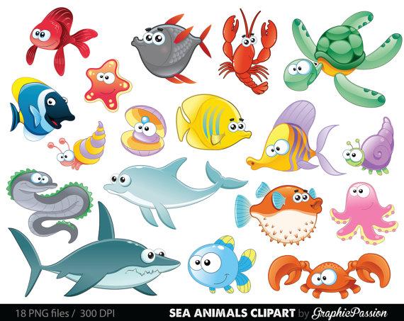 Animal under the baby. Ocean clipart sea creature