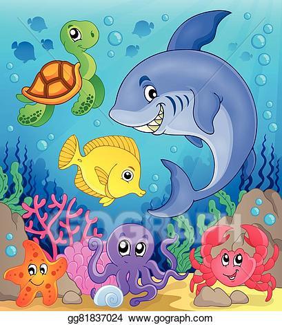 Vector fauna theme . Ocean clipart underwater