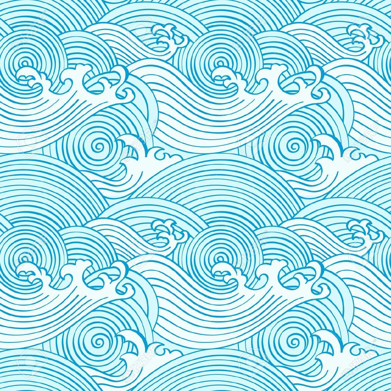 Stock vector inspiration patterns. Waves clipart wave japanese