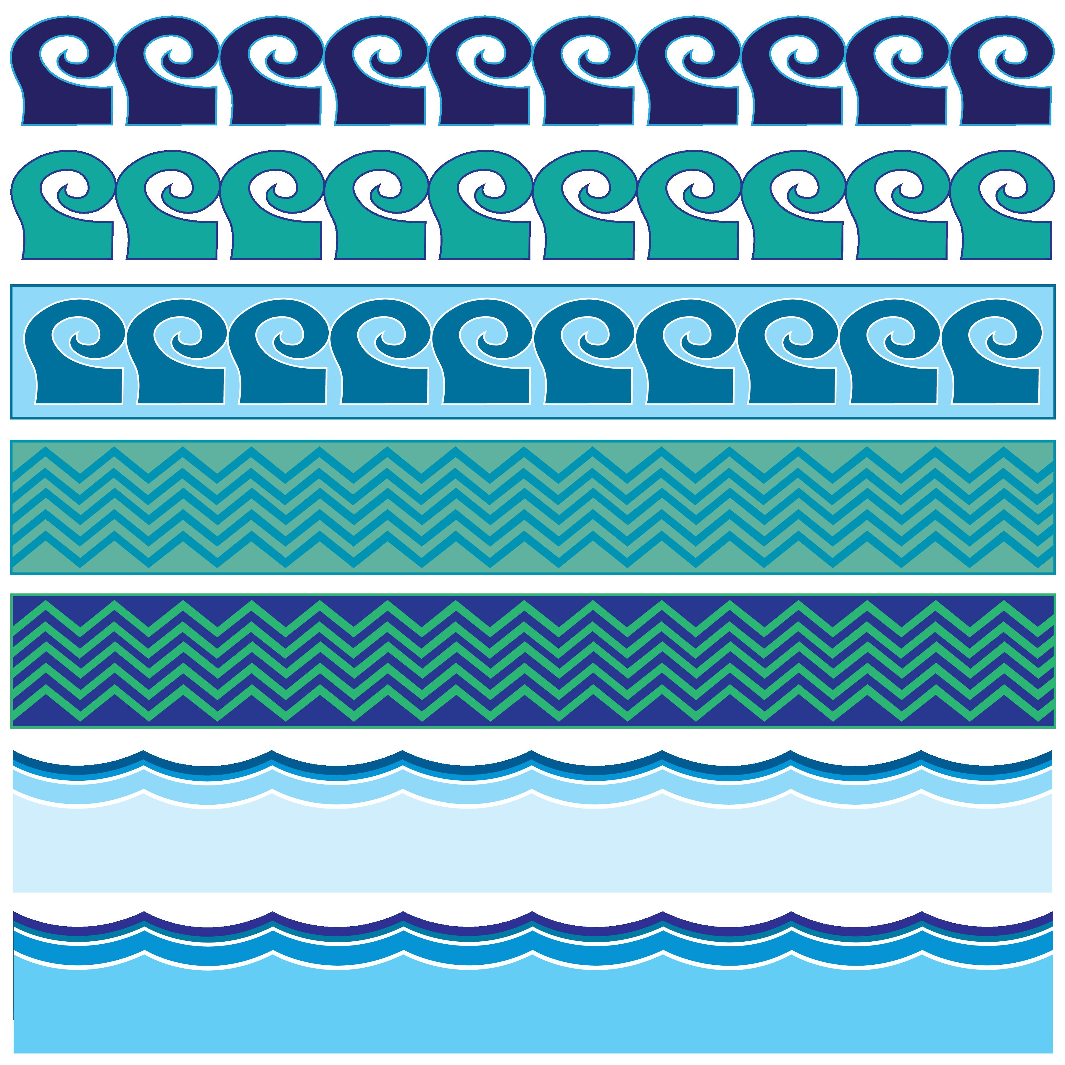 Waves clipart aqua. Water border sea ocean