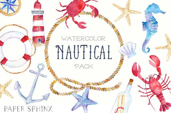 Watercolor nautical sailboat . Ocean clipart wedding