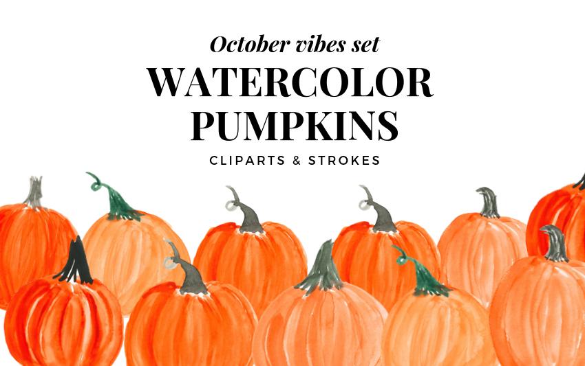 October clipart harvest pumpkin. Watercolor orange and