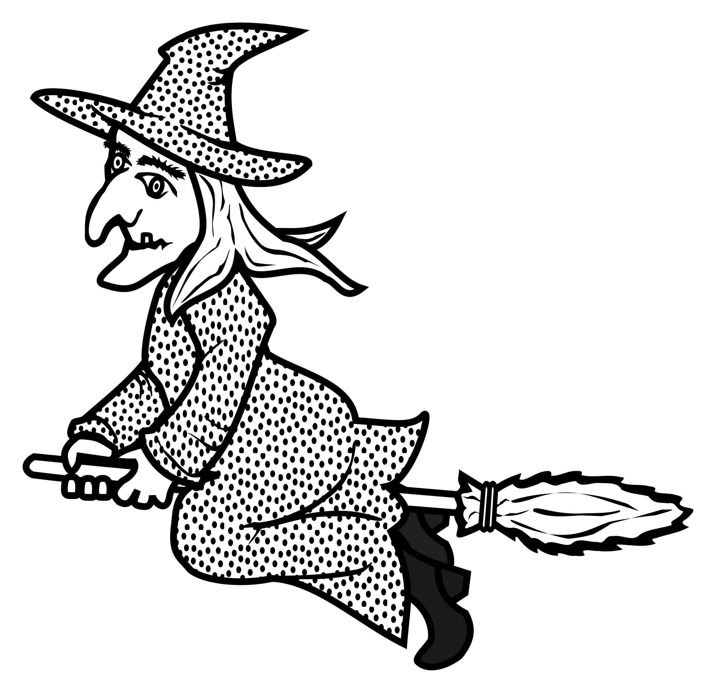 Lineart big image png. Witch clipart printable