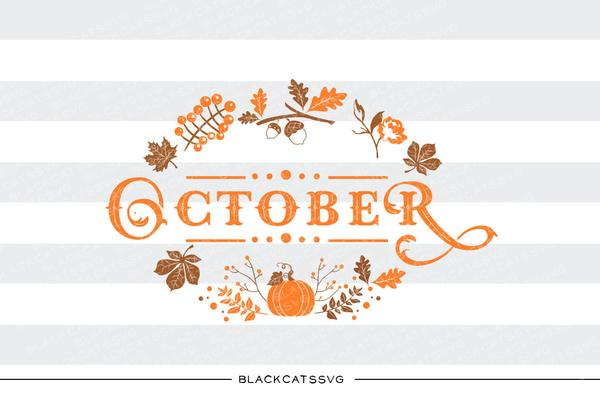 Autumn sign svg file. October clipart october leaves