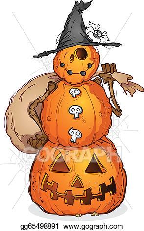 Eps illustration halloween scarecrow. Pumpkin clipart snowman