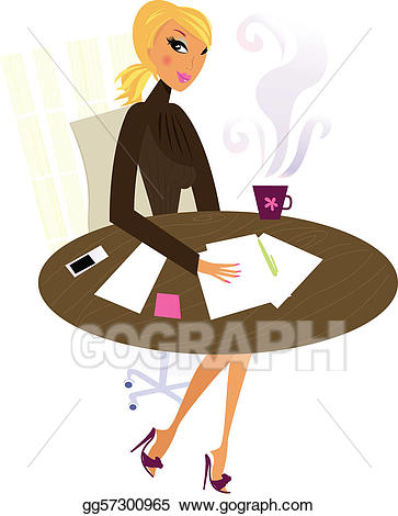 Vector illustration woman in. Office clipart professional office