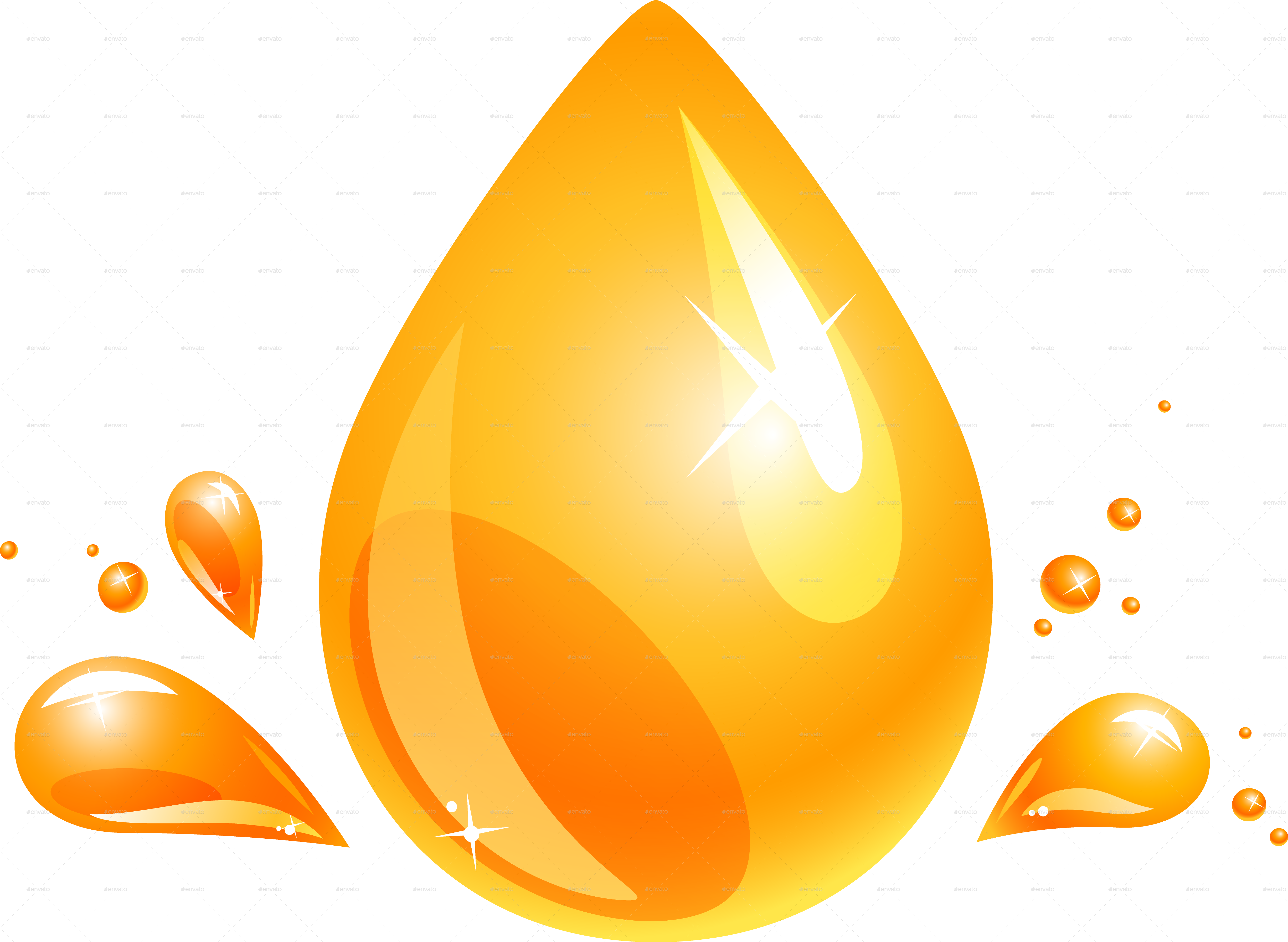 Olive and orange drop. Oil clipart oil droplet