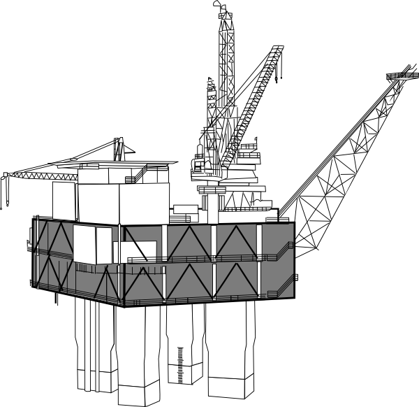 Oil Rig Black And White Clip Art at Clker