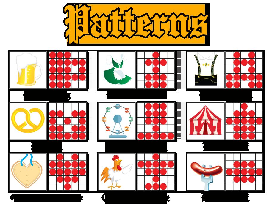 Bingofest crazy oktoberfest patterns. Wheel clipart bingo