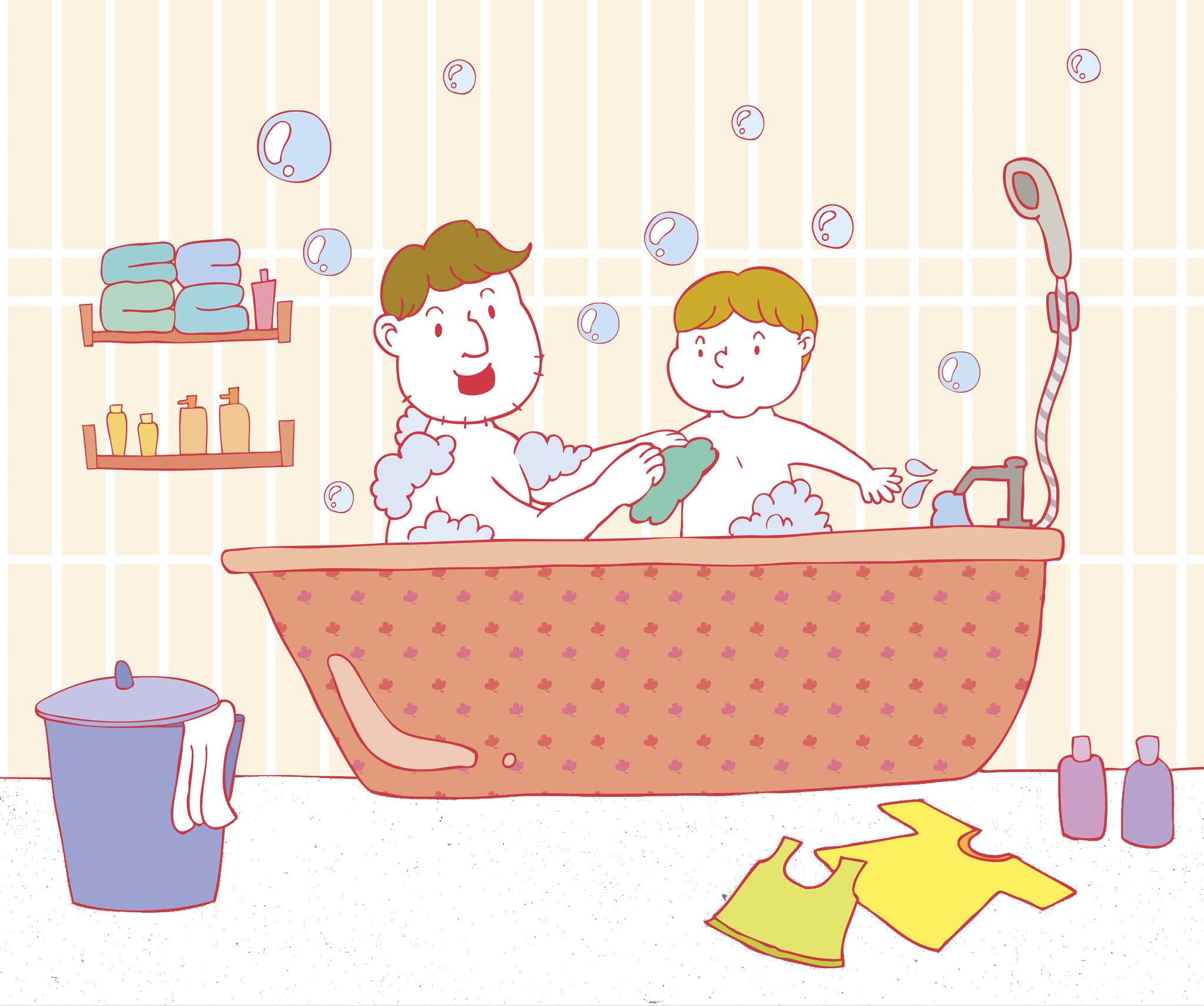 Showering clipart bathub. Bathing bathtub shower father