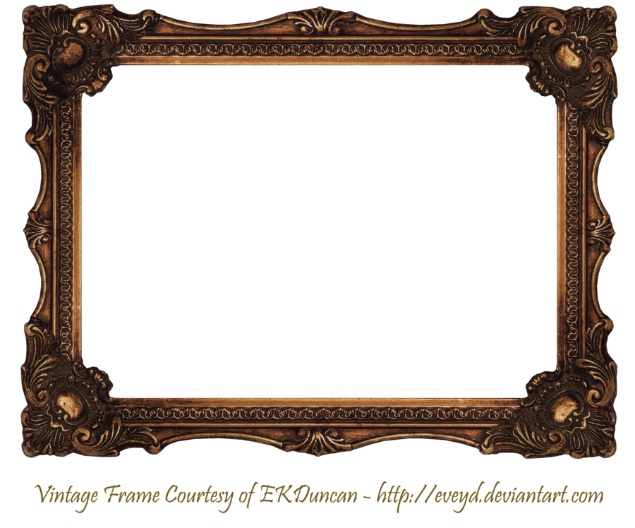 Elaborate wood scroll by. Old picture frame png