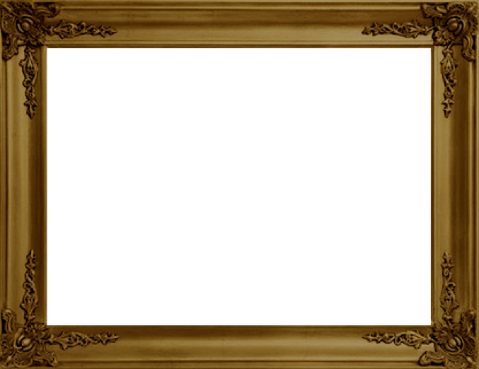 Antique gold over white. Old picture frame png