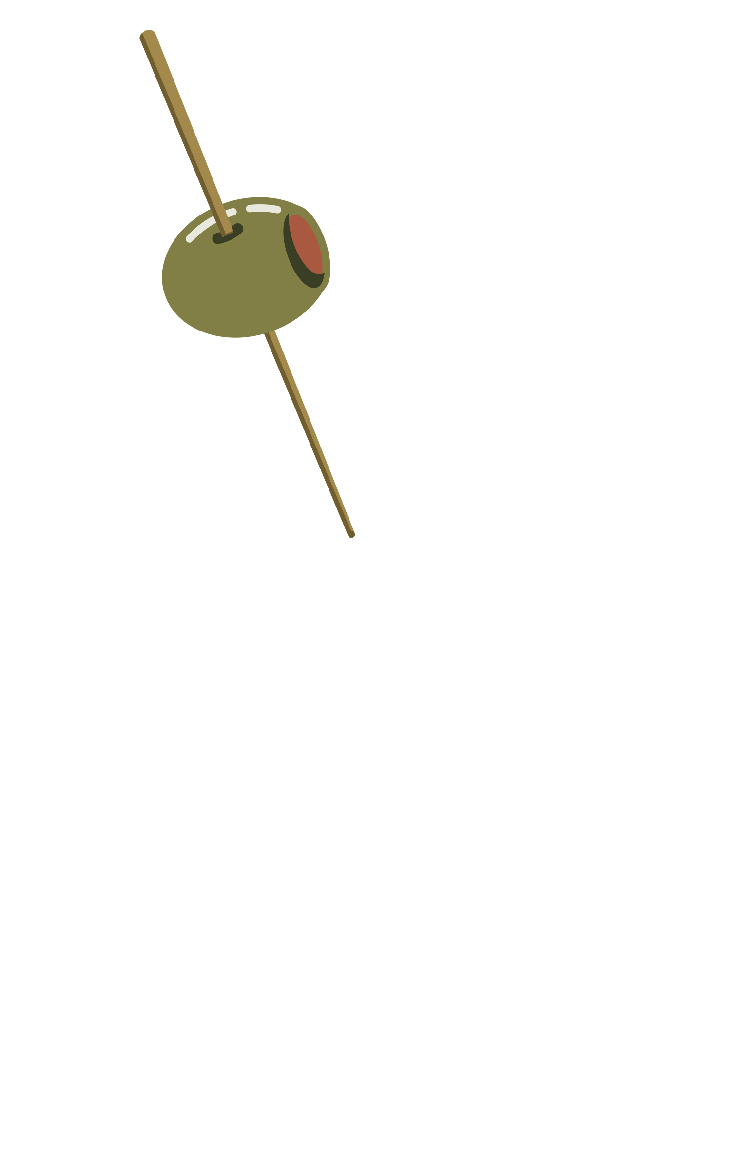 On a toothpick icons. Olive clipart vector