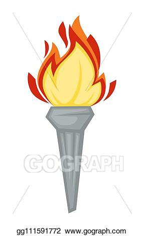 Vector torch greek symbol. Olympic clipart lamp
