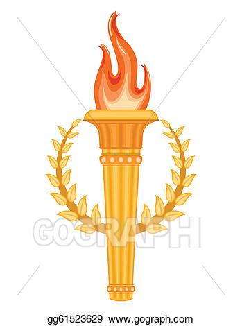 Eps illustration greek olympic. Torch clipart golden