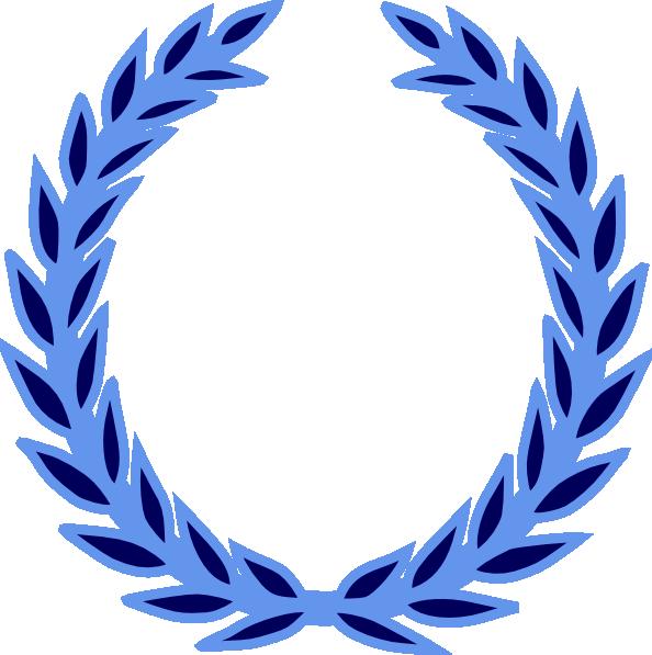Win clipart vector. Blue wreath clip art
