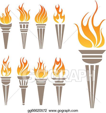 Eps illustration set vector. Torch clipart symbol