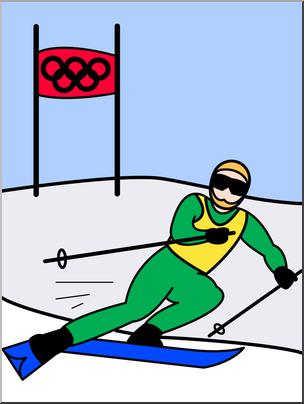 Clip art winter skiing. Olympics clipart ski