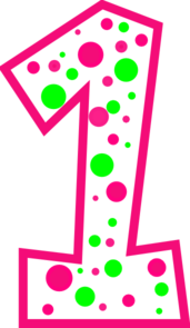 One clipart. Pink number