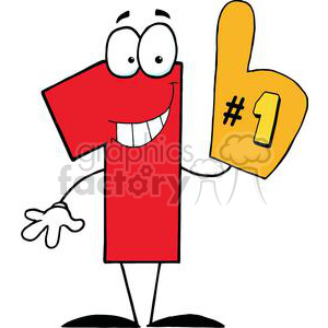 One clipart clip art. Number cartoon character royalty