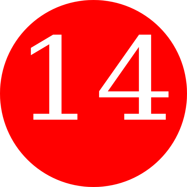 One clipart number 14. Red rounded with clip