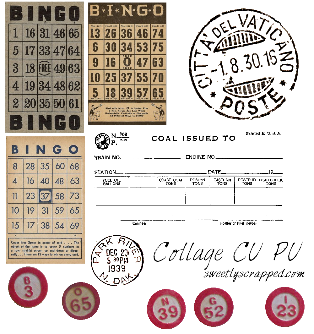 Stamp clipart vintage. Sweetly scrapped free bingo