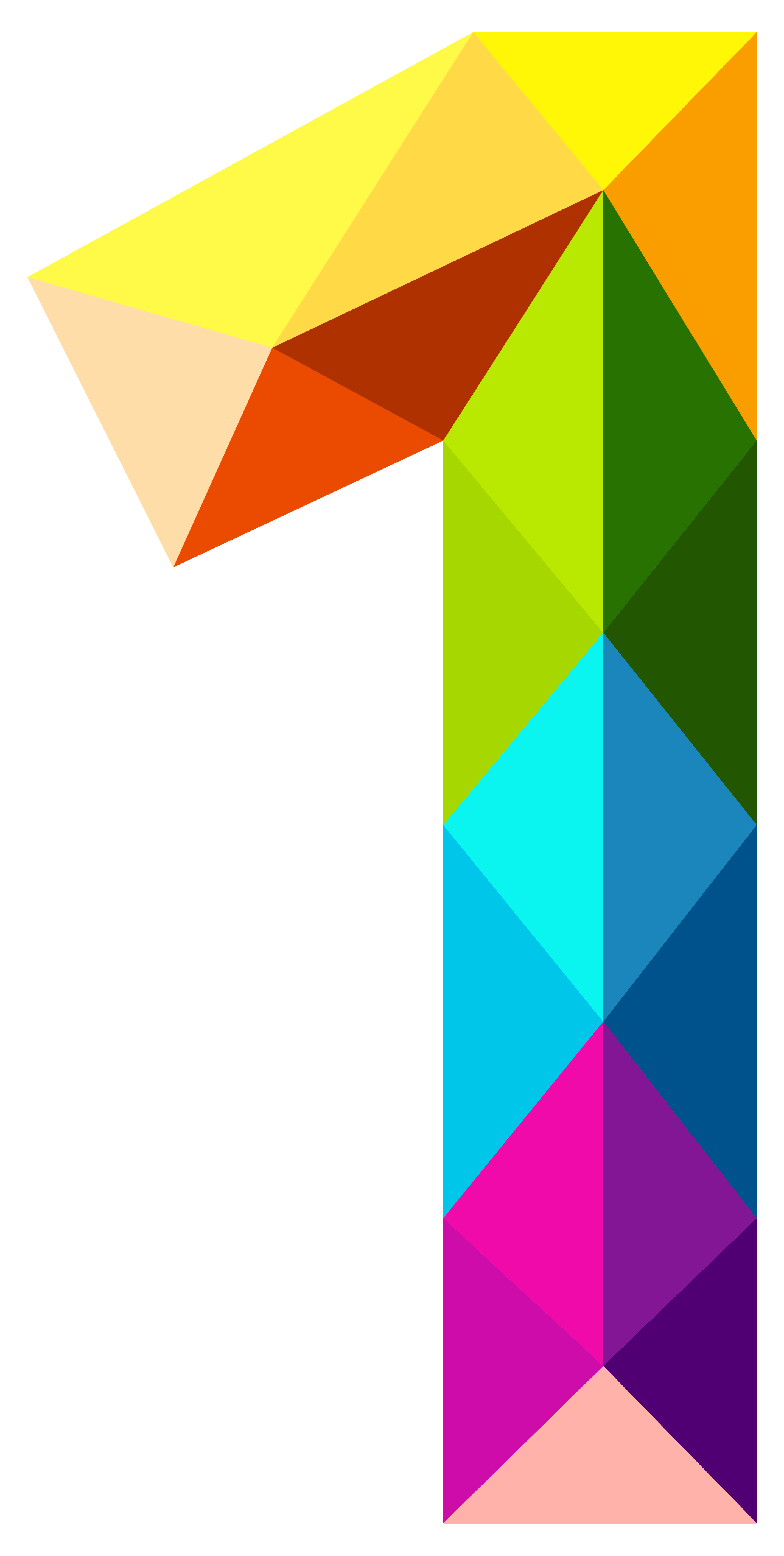 One clipart. Colourful triangles number png