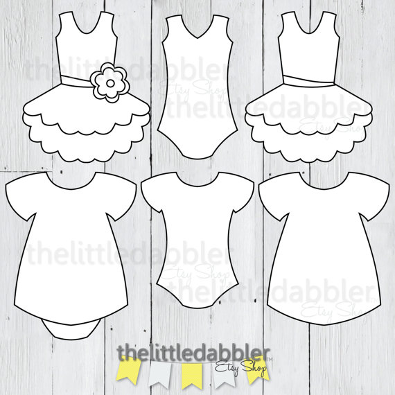 Dress and tutu templates. Onesie clipart baby frock