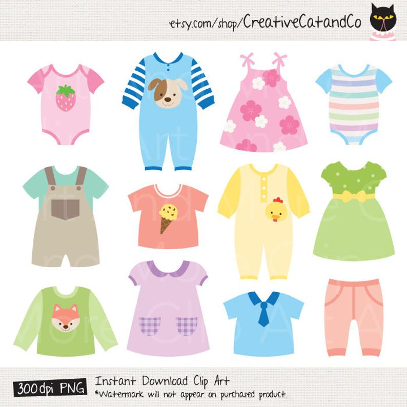 Onesie clipart baby frock. Dress shower clothes digital