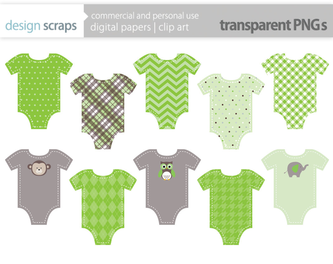 Clothes clip art library. Onesie clipart green baby rattle