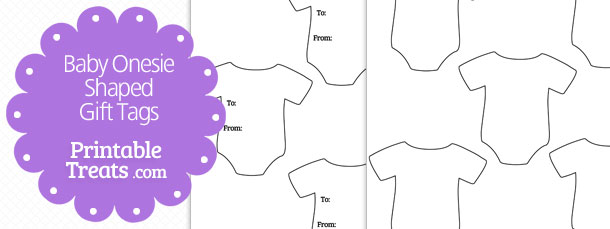 Onesie clipart purple shape. Baby shaped gift tags