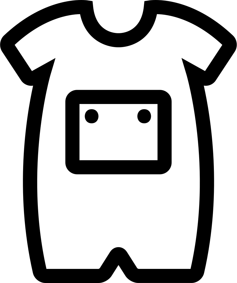 Baby with front pocket. White clipart onesie