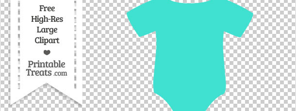 Turquoise baby printable treats. Onesie clipart teal