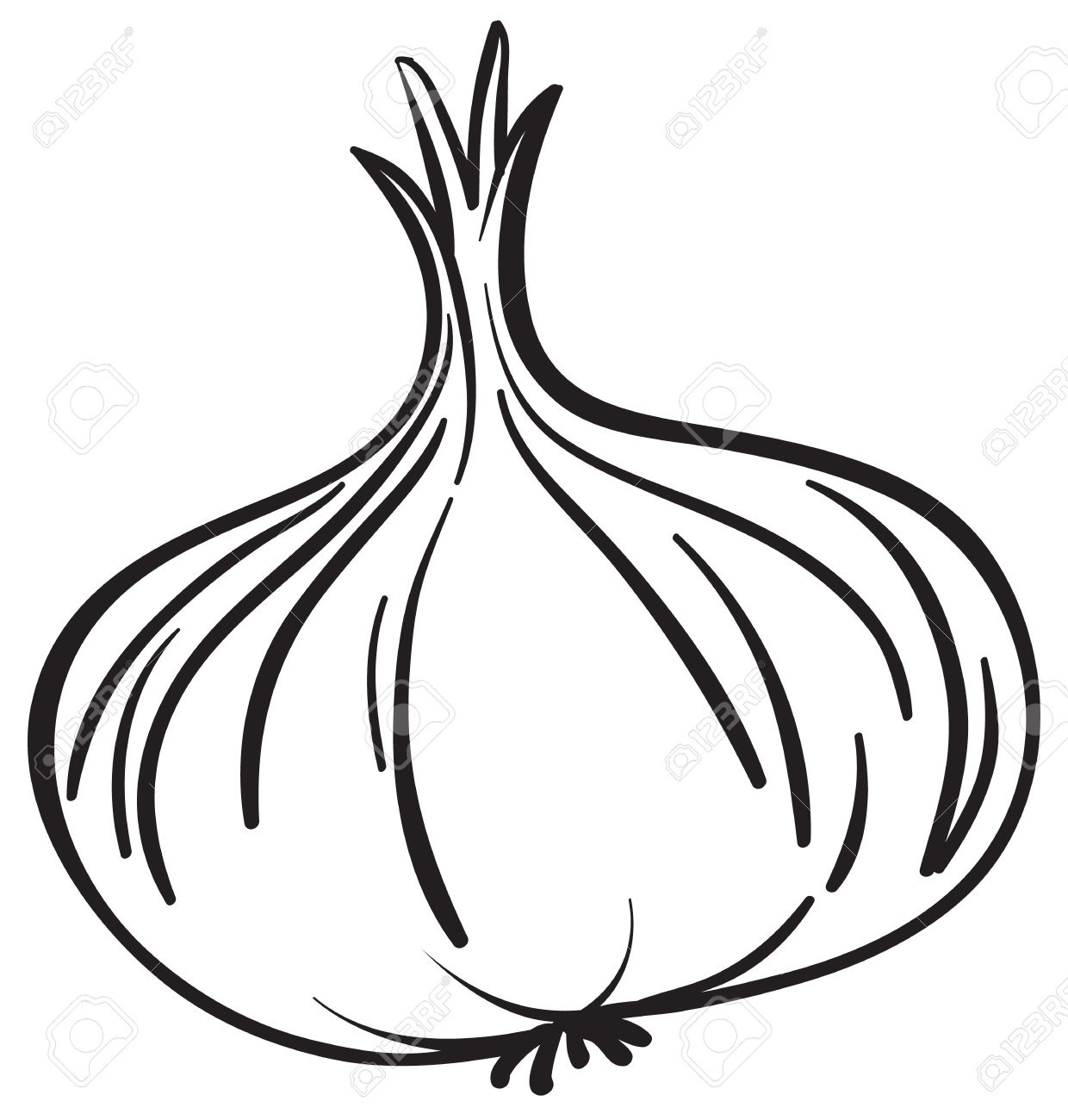 Black and white letters. Onion clipart