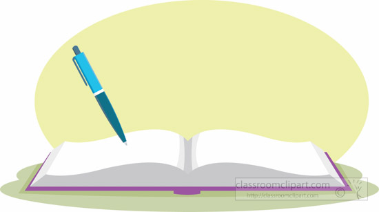Open book clip art. School clipart with pen