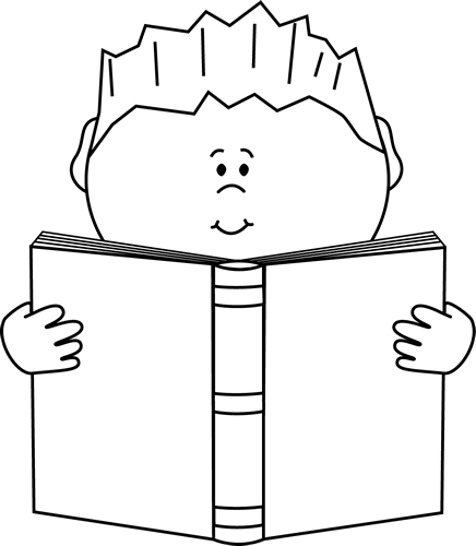 Action clipart black and white. Reading a book clip