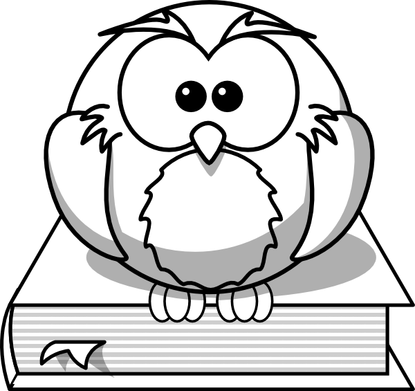 Owl on outline at. Open book clip art drawing