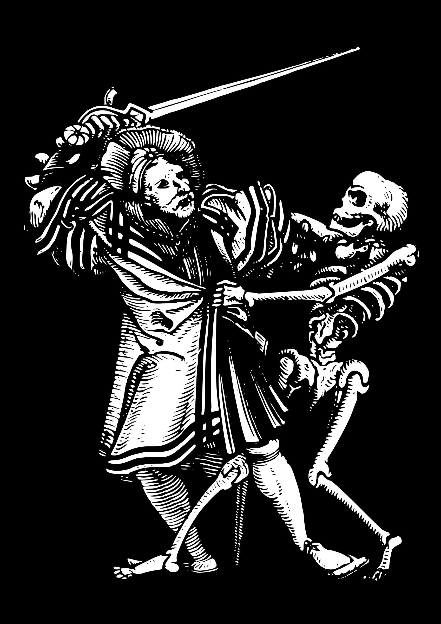 Fight clipart illustration. Man fighting death big