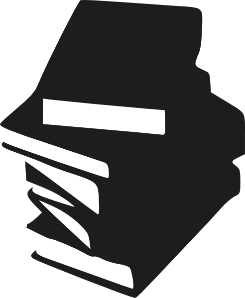Stack of books at. Open book clip art silhouette