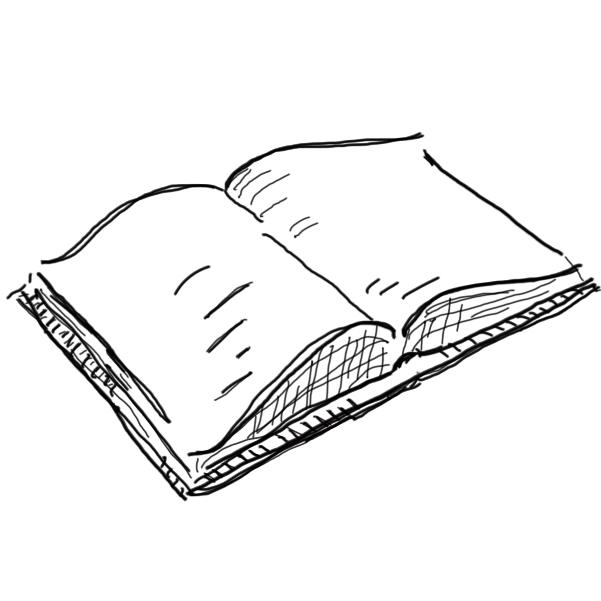 Open book clip art sketch. Line drawing of clipartxtras
