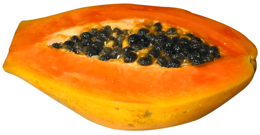 Orange clipart papaya. Half cut png free