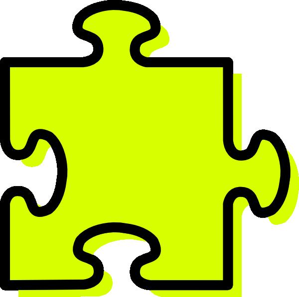 Yellow jigsaw piece clip. Puzzle clipart shape