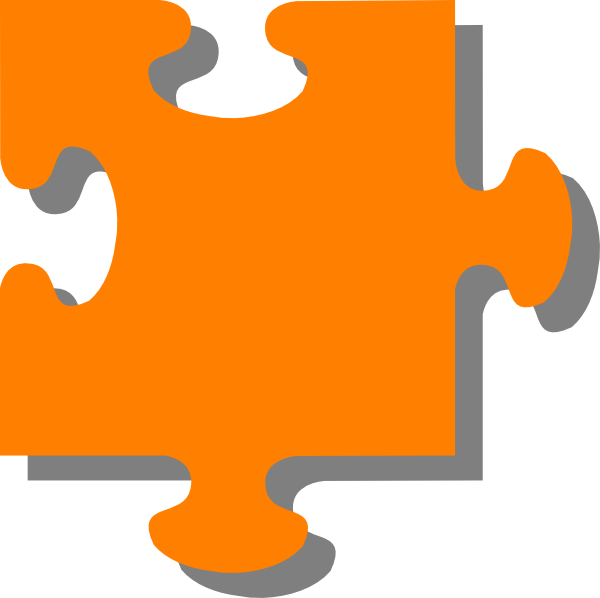 Jigsaw clip art at. Puzzle clipart orange