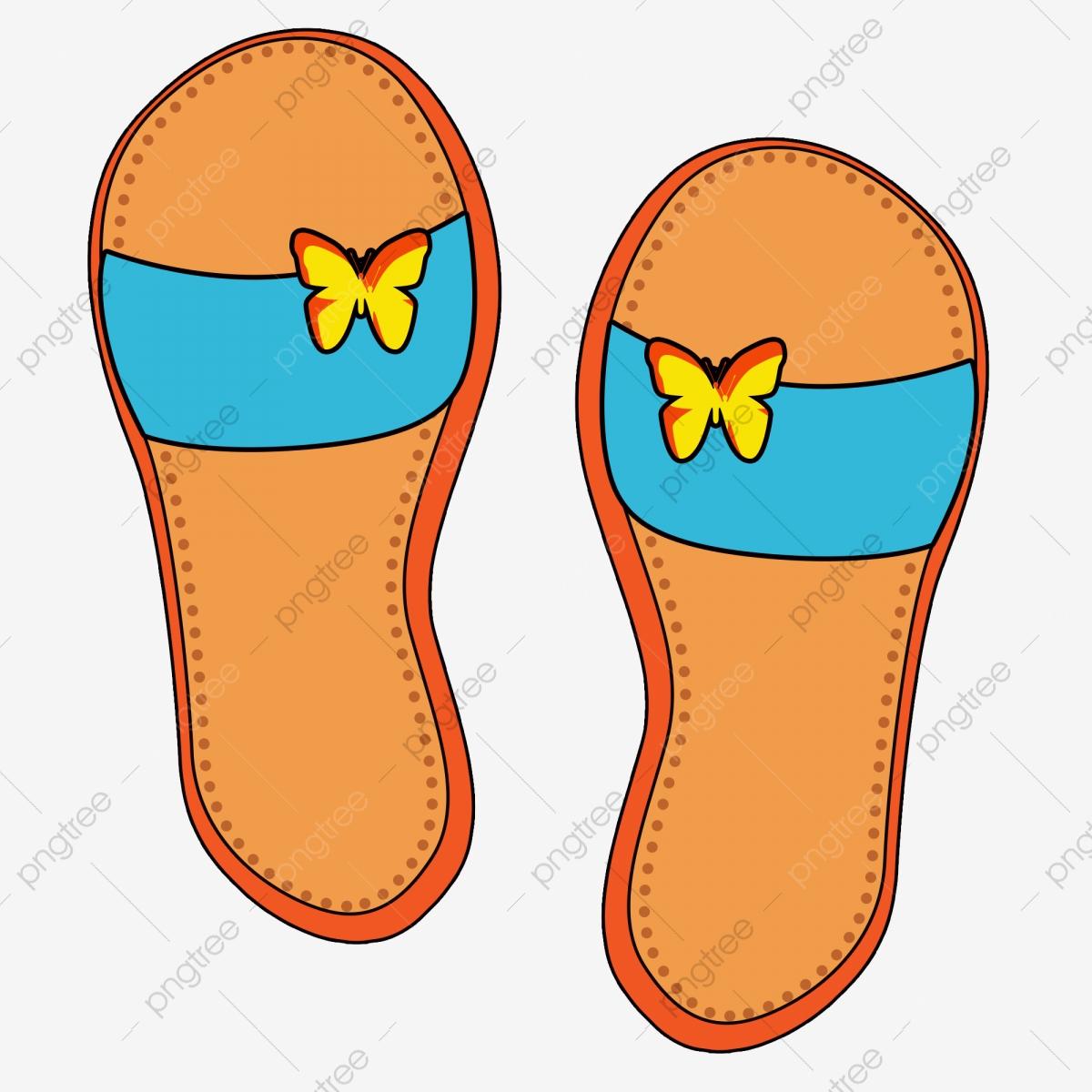 Flip flop orange slippers. Oranges clipart slipper