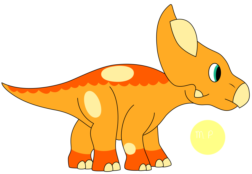 Protoceratops on tricera power. Orange clipart triceratops