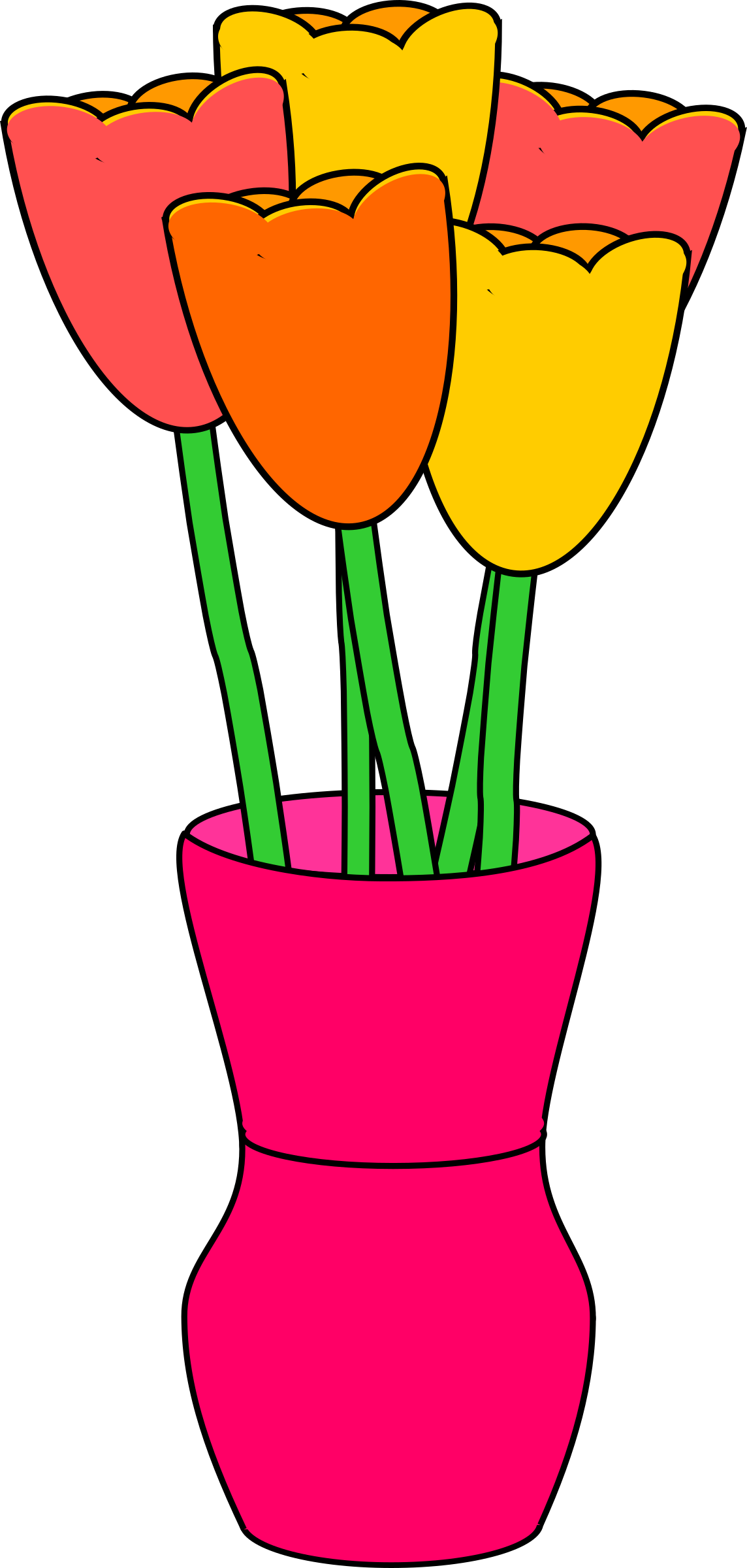Vase clipart cartoon. Pink of multicolored tulips