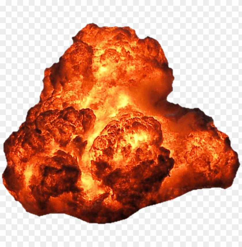 Big explosion with fire. Orange smoke png